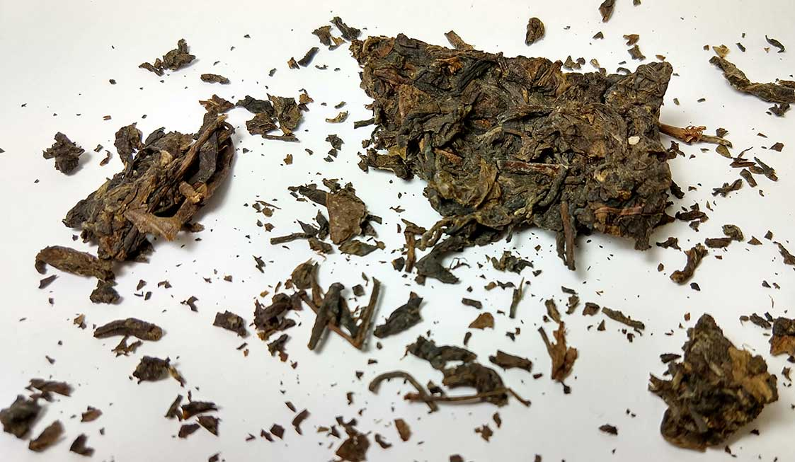 10 year old pu-erh tea cake leaves
